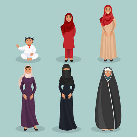 hid: Arabic women generations from child to elderly person Illustration