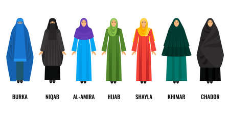 Traditional Arabic women clothing isolated cartoon illustrations set