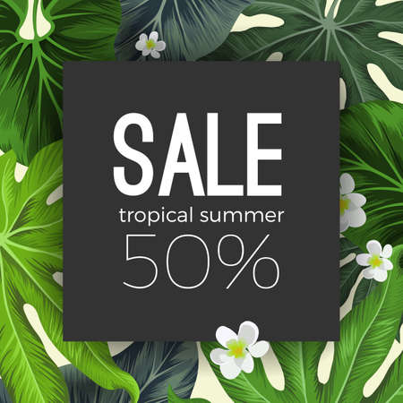 50 off: Special summer sale card with exotic plants on background Illustration