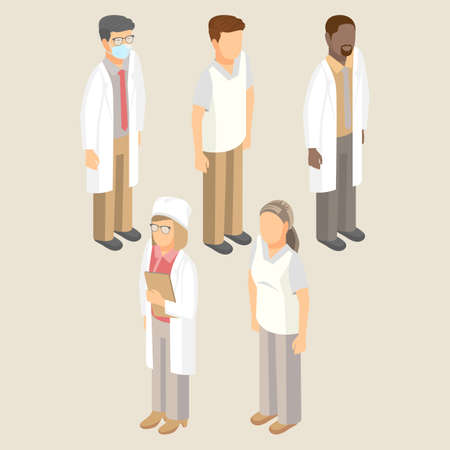 Medical workers set of men and women in white uniform vector illustration. Doctors in respiratory mask, hat, sanitary nurse, surgeon and pediatrician with therapist Illustration