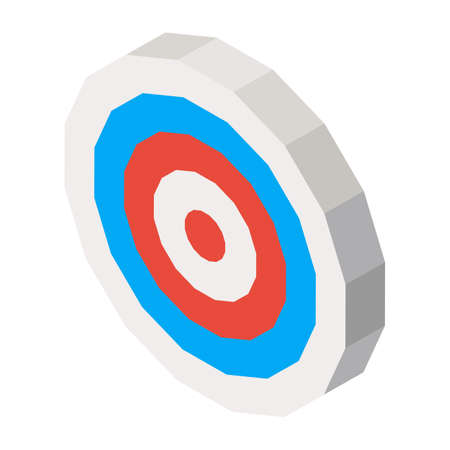 Empty dartboard with blue and red lines isolated on white. Vector three dimensional illustration with sport symbol in round shape for business purpose Illustration
