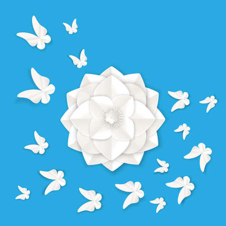 butterfly background: Flora origami elements of luxury white flower and tropical butterflies vector illustration isolated on blue background, summer poster