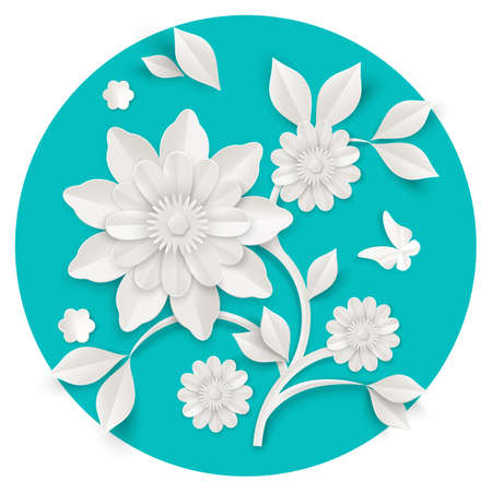 paper sheet: Graceful stem with charming blossom made of white paper sheet isolated vector illustration on turquoise background. Skilled origami work with lot of details.