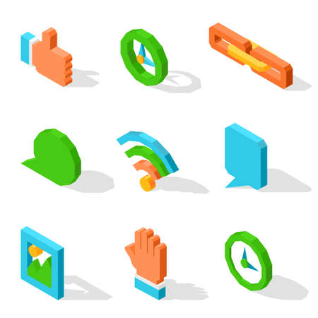 Like icon, mechanical clocks, orange chain, round and square chat clouds, wifi connection symbol, gallery sign and human palm vector illustrations.