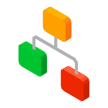 organisational: Hierarchy network 3D icon vector illustration isolated on white. Structure of organized elements, levels of chain rows, concept of work organization Illustration
