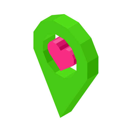 geolocation: Liked geolocation icon with pink heart inside circle isolated vector illustration on white background. Social media symbol of nice public place . Illustration