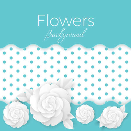 Flowers background with dotted center, paper origami blossoms