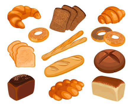 Various types of baked goods realistic style illustration