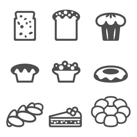 donut style: Set of icons depicting desserts realistic style illustration