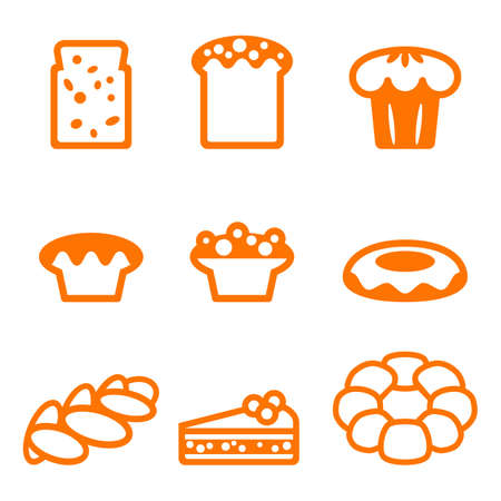 Set of icons depicting desserts realistic style illustration