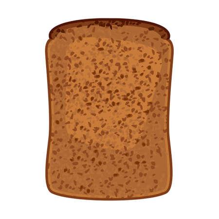 イラスト分離された全粒小麦のパンのスライスのクローズ アップ  イラスト・ベクター素材
