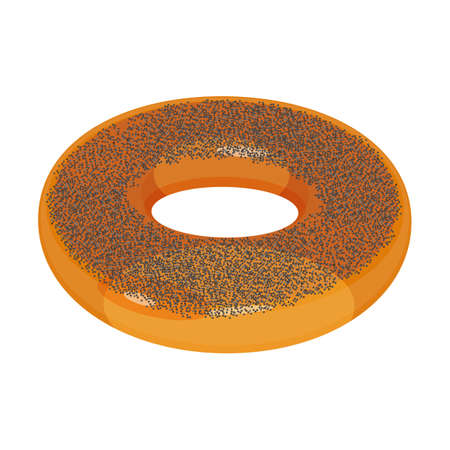donut style: Appetizing glazed ring-shaped roll bun covered with poppy isolated