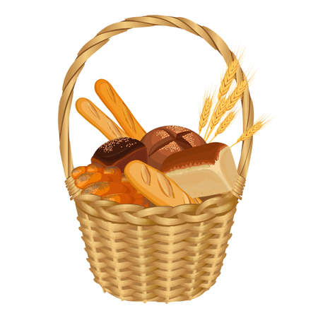 braided: Basket filled with baked goods realistic style illustration on white