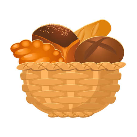 bakery products: Closeup of homemade wicker basket with bakery products isolated illustration Illustration