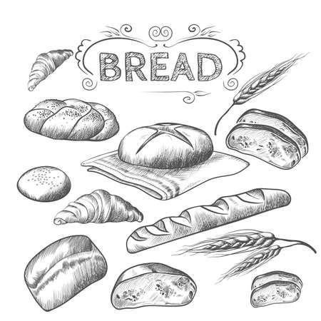 Hand drawn collection of baked goods isolated illustration