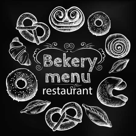 Bread items set isolated illustration on dark grey Illustration