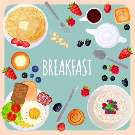 Ontbijt tafel met voedsel geïsoleerde illustratie op lichtblauw Stock Illustratie