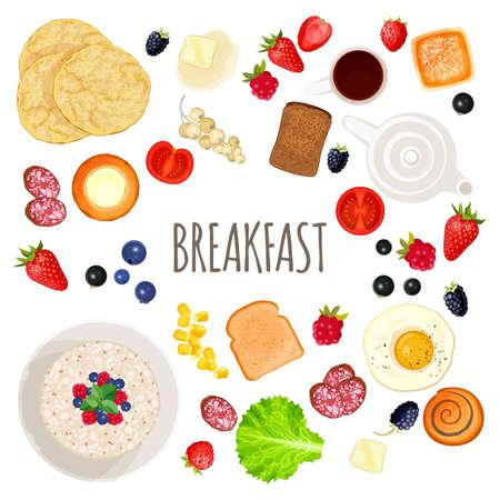 Ontbijt eten en drinken collectie geïsoleerde illustratie op wit