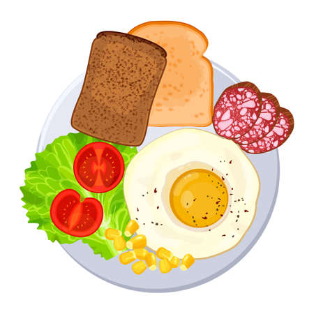 Traditional breakfast on plate isolated illustration on white
