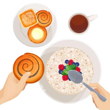 Hoogste mening van ontbijtlijst met vers-gebakken gebakje, sterk zwart koffie en havermeel met vruchten geïsoleerde vectorillustratie op witte achtergrond