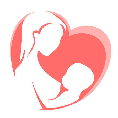 Mother feeding child by on background of red heart