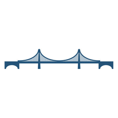 Cable-stayed bridge blue silhouette vector illustration isolated on white background. Structure carrying road or railroad across a river with two supports Illusztráció