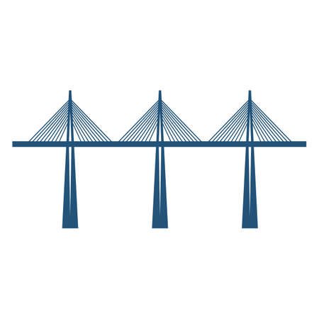 rope bridge: Cable-stayed bridge on three supports blue silhouette vector illustration isolated on white background. Structure carrying road or railroad, canal across a river