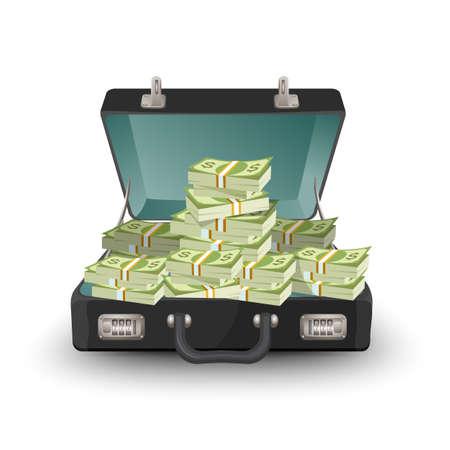 お金のベクトル図白で隔離のブリーフケースを開く。ドル紙幣、現金と革ケース、スーツケース  イラスト・ベクター素材