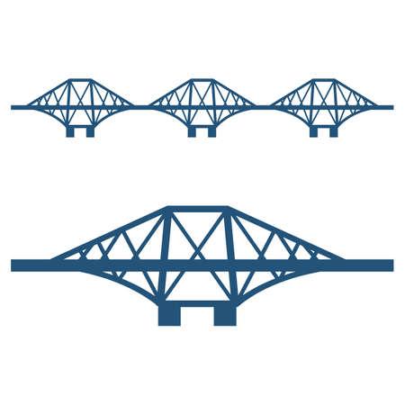 fife: Forth Bridge set of blue silhouette isolated on white Illustration