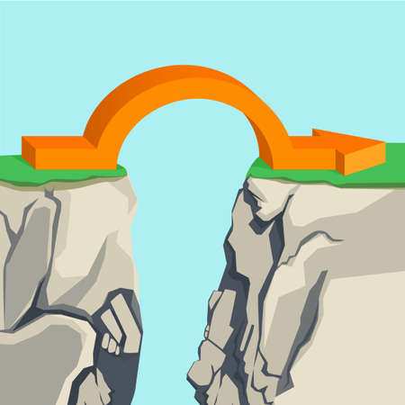 Orange arch-shaped arrow spanning across rocky abyss illustration