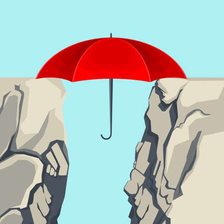Umbrella hanging on edges of abyss isolated illustration Ilustração