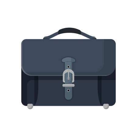 black metallic background: Dark blue leather briefcase isolated illustration on white Illustration