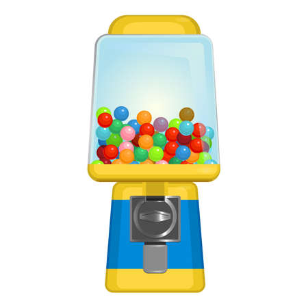 Gumball machine with square display in yellow and blue colors