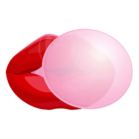 plump lips: Red female lips blowing bubble gum isolated illustration