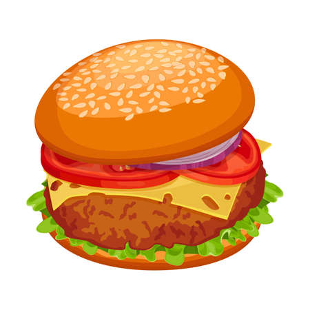 Hamburger with cutlet, piece of cheese, lettuce, tomatoes with onion Illustration