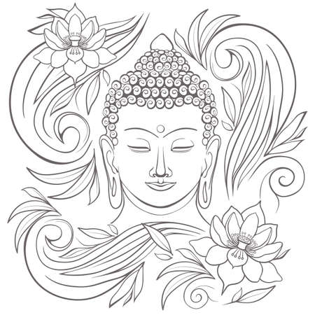 buddha lotus: Gautama buddha with closed eyes and floral pattern vector illustration