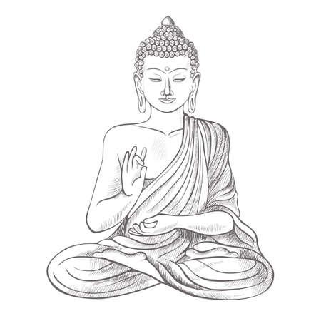 Gautama buddha with raised right hand on vector illustration Stock Illustratie