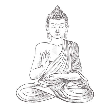 Gautama buddha with raised right hand on vector illustration Çizim