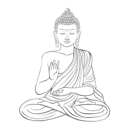 Gautama Boeddha met verhoogde rechterhand op vectorillustratie.