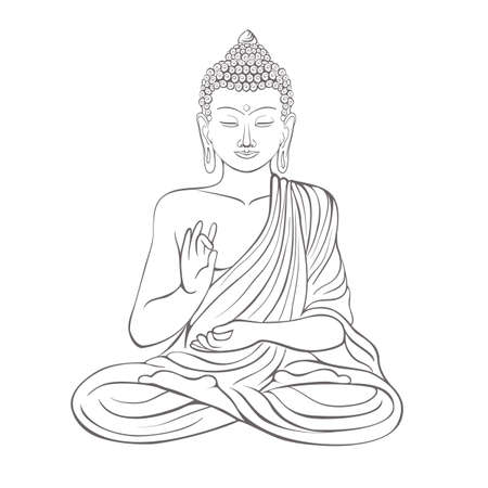 Gautama Buddha with raised right hand on vector illustration.