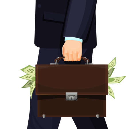Unknown man in suit stealing budget briefcase filled with money