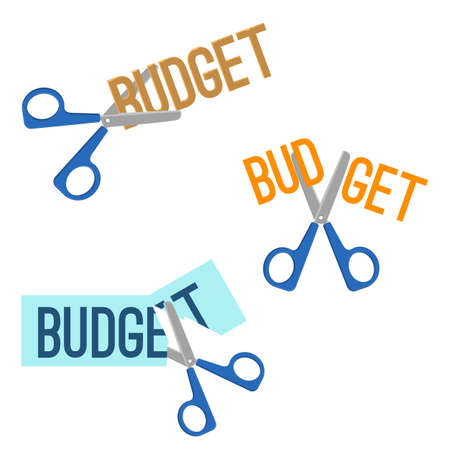 clip art cost: Title budget written on piece of paper and scissors that cutting it, headline of different colours, on vector illustration isolated on light-yellow Illustration