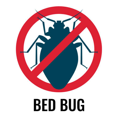 Anti bed bug emblem white on vector illustration