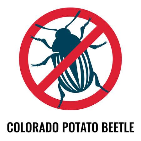 Colorado potato beetle anti emblem on vector illustration