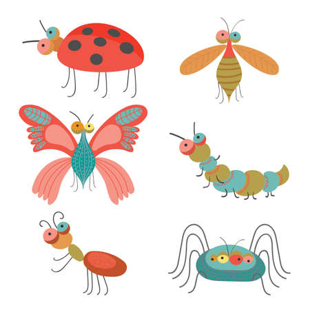 ladybug: Set of funny colorful bugs on vector illustration Illustration