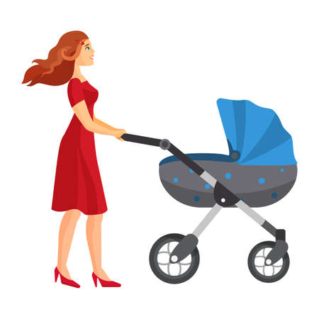 Buggy fit ultimate outdoor fitness class mother jogging with stroller Illustration
