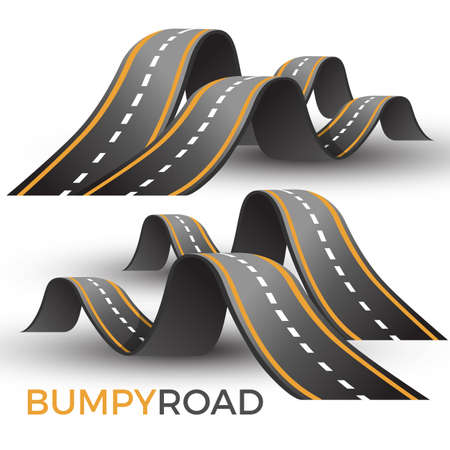 Bumpy road icon uneven dangerous wave path with marking vector Çizim