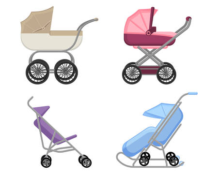Set of strollers and prams summer and winter collections