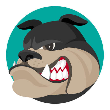 spiked: Angry bulldog face profile view vector realistic illustration. Head of grown up canin medium-sized breed with wrinkled face and evil tooth smile logo design