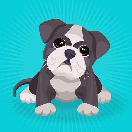 Het puppy leuk stuk speelgoed van de buldog in witte en beige kleurenvector